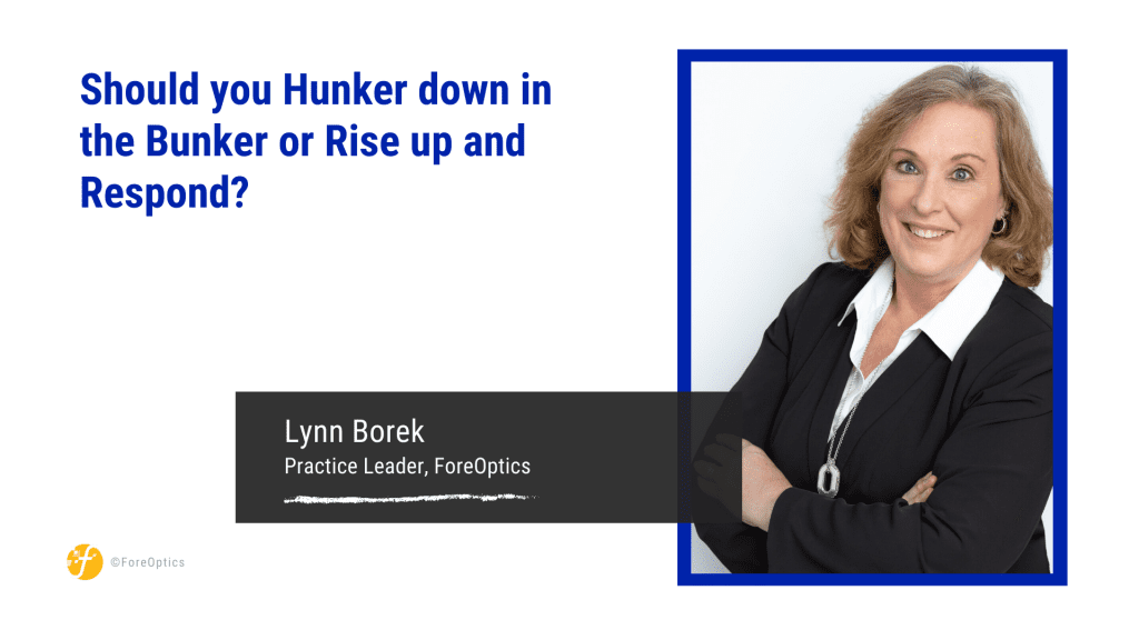 Hunker down in the bunker or rise up and respond? blog by lynn borek, ForeOptics
